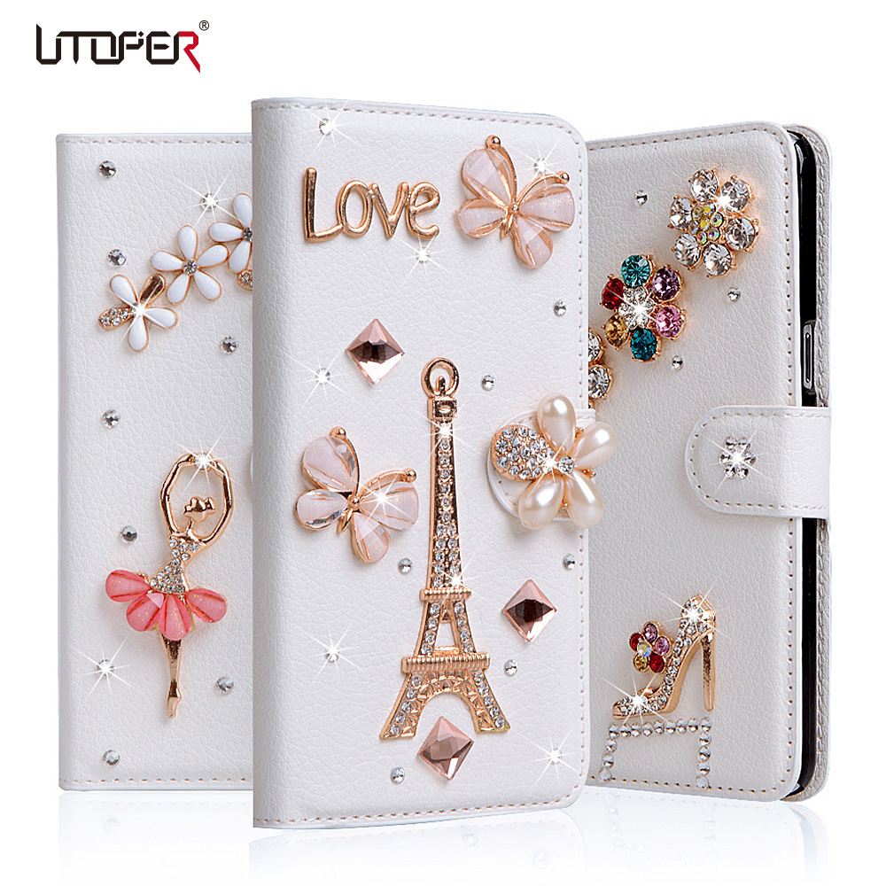 Rhinestone Wallet Case Homtom HT37 Pro Case Diamond Frame Filp Leather Cover Homtom HT37 Pro Stand Holder Phone Cases