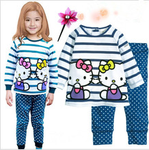 Retail free shipping 2016 new 100% cotton Hello kitty baby pajamas of the children pyjamas kids baby clothing 2 pcs set,2-7 yrs!