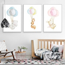 Watercolor Animal Nordic Poster Elephant Rabbit Baloon Canvas Print Wall Art Painting Decorative Picture Baby Room Decoration