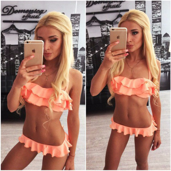 Summer Women Bikini Ruffle Bandeau Low Waist Swimwear Pleated Halter Swimming Drees Biquini Set for Female
