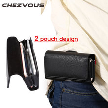 2 Pouch Design Waist Bag for Iphone 4 5 6 7 Mobile Phones Phone Pouch Case Belt Clip Bag Men Business Wallet for Iphone 6 7 Plus(China)