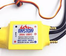 Free shipping Mystery Cloud 200A ESC with 5A UBEC brushless ESC Speed Controller for rc boat /RC Helicopter Airplane