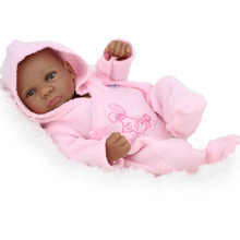 Black African American Reborn Baby Girl Dolls 10 Inch Full Vinyl Body Silicone Reborn Babies For Kids Doll Little Mommy