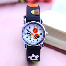 Drop shipping Cute Basketball Football Rugby Cartoon children watch girls Rubber kids watches boys Silicone Quartz WristWatch(China)