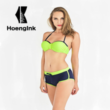 2017 bandage Bikini Swimwear Swimsuit Women Sexy Padded Biquinis Set Swimsuit Lady Bathing Push Up Cute Bow Swimming Suit 1551(China)