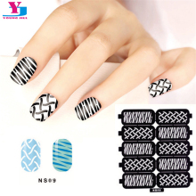 10pcs/Lot New Design Reusable Fake Nail Art Sticker Hollow Black Templates Stencils Stickers Image Guide Polish Nails Art Tools(China)