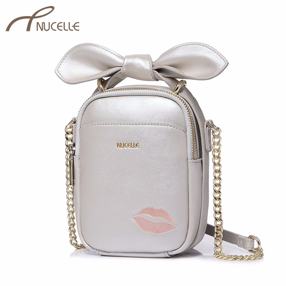 NUCELLE Brand Women Leather Messenger Bag Ladies Fashion Embroidery Lip Bow Shoulder Bags Female Chain Phone Mini Crossbody Bags<br>