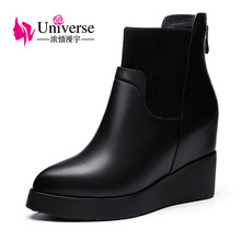 Universe Winter Women Boots Black Genuine Leather Ankle Boots short plush Insole Wedge Heel Warm Shoes Women C198(China)