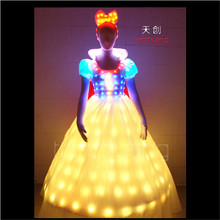 TC-55 Singer wedding dress show cloth programming design full color LED colorful women costumes party RGB skirt ballroom dance