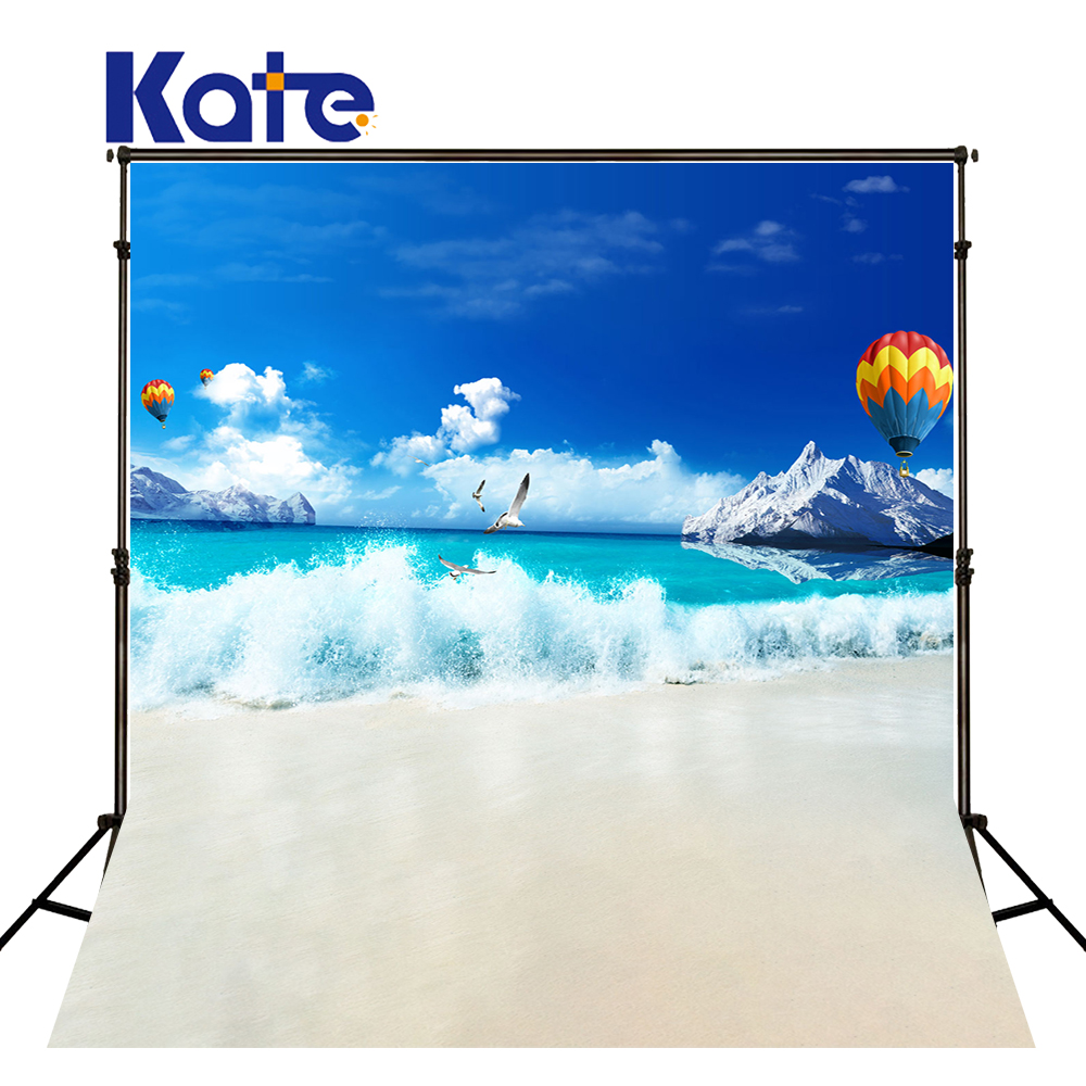 Kate Beach Blue Background Waves and Hot Air Balloon Photo Scenic Photography Backdrops Children Photo For Studio Custom<br>