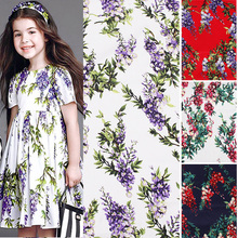 140cm Wide Density clothing Poplin Fabric Stretch Cotton Fabric Rattan Flower Printed Cotton Fabric Sewing Diy Baby Girl Dress(China)