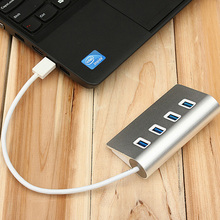 Business Style Sliver Color 4 ports USB 3.0 HUB Inter-current Protect Splitter Adapter Aluminum Hub for Macbook Air PC Laptop(China)