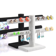 Superior Velvet Earring Display Stand Shelf Earring Holder Jewelry Showing Rack Showcase for 20pairs Earring Display T Bar