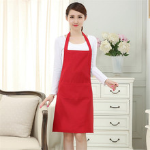 1pcs 2 Pockets Women Apron Waiter Aprons BBQ Restaurant Kitchen Cooking Shop Art Work Apron Work Dress 60x70cm