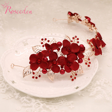 bridal alloy wedding hairband vintage simulated beautiful red flowers bride handmade headdress wedding dress accessories RE360