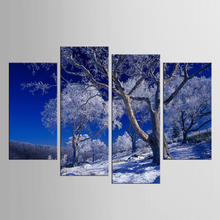 4 pieces / set Wall Art Blue Sky Snowy Mountain Canvas Prints The Paintings On The Wall Landscape Paintings Home Decoration
