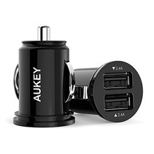 Aukey 4.8A / 24W Dual USB Car Charger Adapter Cigarette Lighter for Apple Android Phone Devices The Smallest but Most Powerful