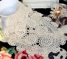 Luxury Cotton Crochet tablecloth white tea Table cloth towel doilies lace round placemat Table Cover for party wedding decor