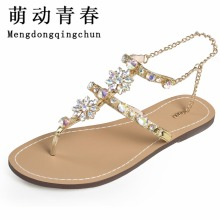 2017 Woman Sandals Women Shoes Rhinestones Chains Thong Gladiator Flat Sandals Crystal Chaussure Plus Size 46 tenis feminino(China)