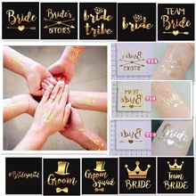 25 pcs Hen Party Premium Gold Metallic Temporary Foil Tattoos Wedding Party Novelty value pack(China)