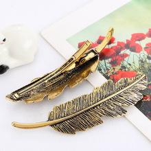 2017 New Hot Fashion Vintage Gold Retro Metal Feather Big Hairgrips Hair Clip for Women Accessories Jewelry(China)