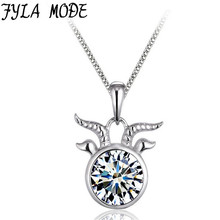 Fyla Mode Fashion Necklaces & Pendants Capricorn Design 12 Constellation for Women 925 Sterling Silver Health Fine Jewelry(China)
