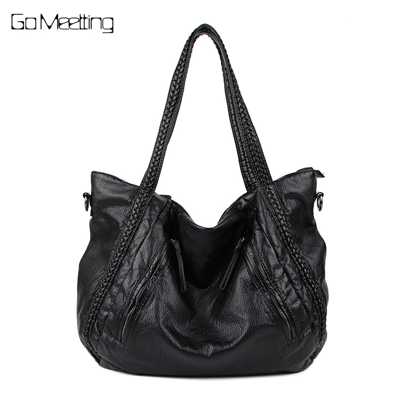Go Meetting Genuine Leather women Shoulder Bags Fashion Woman Handbags Sheepskin Large Capacity Tote Casual Soft Messenger Bag<br>
