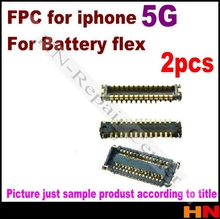 2 pcs for iPhone 5 5G on motherboard Battery Clip FPC plug Connector good qualtiy only the fpc Mobile Phone Flex Cables