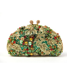 Top Quality Crystal Evening Bags New Fashion Design Women Sequin Clutch Purse Green Floral Crystal Purse Shop Bridesmaid Clutch(China)