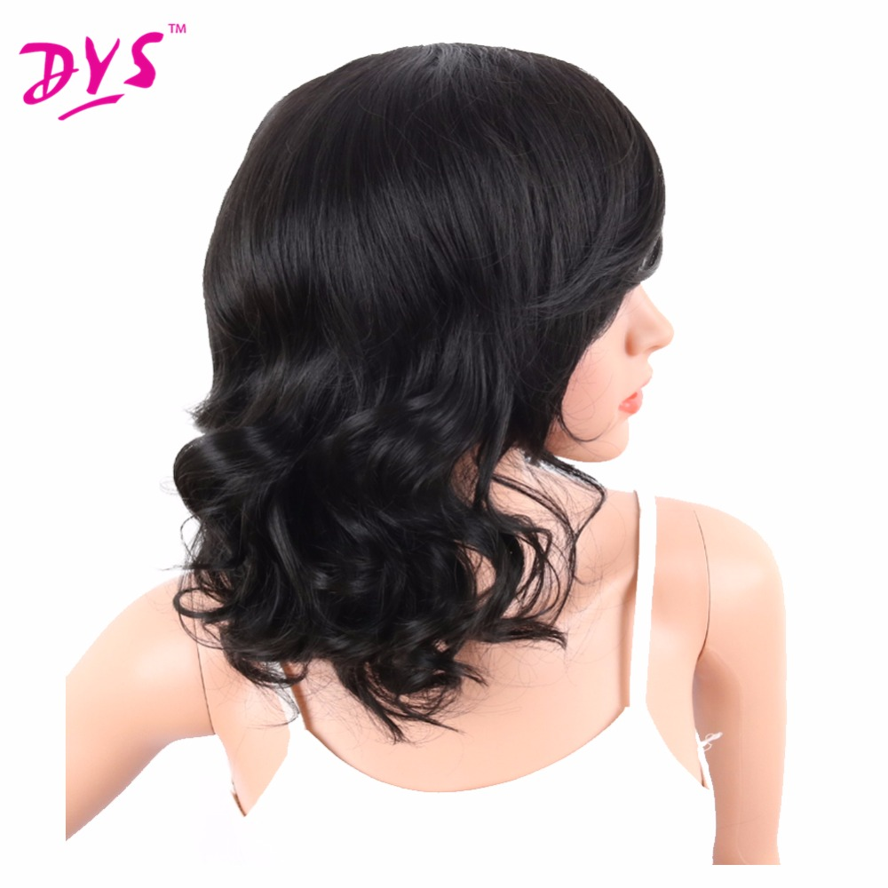 Deyngs Big Curly Synthetic Wigs with Bangs Japanese Kanekalon Fiber Heat Resistant Full Wigs for Women Girls Lady Natural Black (3)