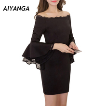 Buy Slim Sexy Dress Women Shoulder Slash Neck Flare Long Sleeve Lace Dresses Solid Color Black Pack Hip Pencil Dress Lady for $19.80 in AliExpress store