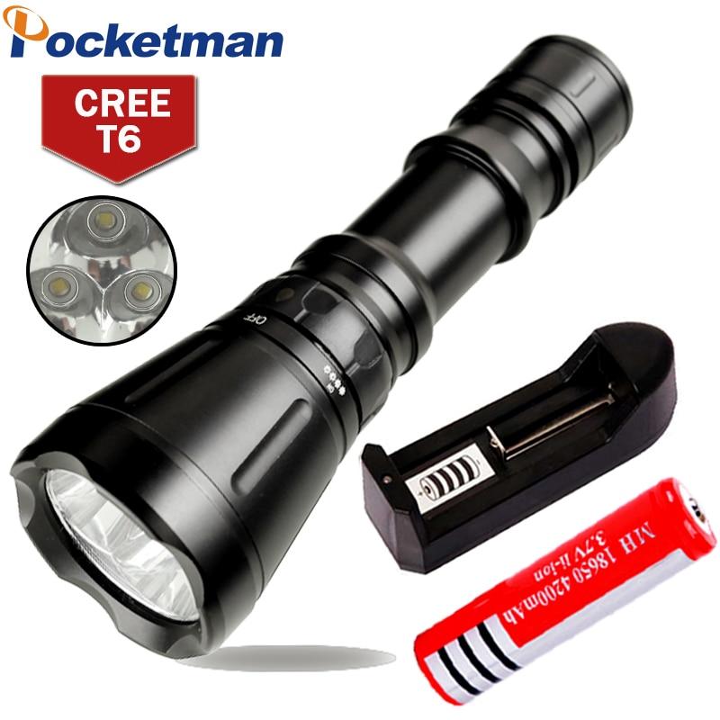 8000 Lumens Diving Flashlight 3* CREE XM-L T6 8-mode 60M LED Flash Light Waterproof Scuba Dive Torch Underwater Hunting<br>