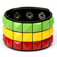 1 PC Fashion Punk Colorful Magic Cube PU Bracelet & Bangle Leather Bracelet Hot-selling Leather Jewelry & Accessories Bracelets