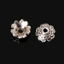 20pcsTibetan Style Silver Plated Flower Metal Bead Caps 3x7mm For Jewelry Making Connector Beads End Caps Diy Jewelry Parts