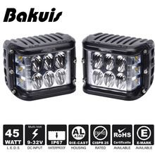 Bakuis 2X Car 45W Side Shot Pod LED's Cube Led Work Light Off Road Driving Lights With Single Side Light For Jeep UTV RZR Truck(China)