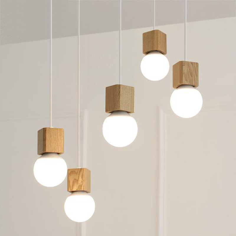 Small wood chandelier E27 lamp room modern garden restaurant kitchen aisle bar balcony Chandelier<br>