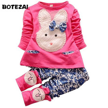 Dropshipping 2016 new baby girl clothing set kids long sleeve cartoon rabbit suit T-shirt +pants children spring autumn 2pcs set
