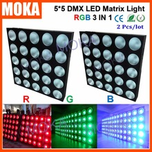 2PCS/LOT  IP Rating 20 800W RGB 3 IN 1 5x5 Matrix Stage Light 30Wx25Pcs Lamps Nightclub Event Show Projector