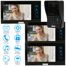 "KKmoon 7"" Video Door Phone Intercom Doorbell Touch Screen ID Cards/Code Unlock Night Vision Home Security 1 Camera + 3 Monitor"