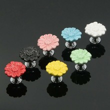 Country Style  Flower Ceramic Alloy Door Knob Kitchen Cabinet Cupboard Wardrobe Children Room Pulls Handles Multi-color