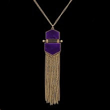 Handmade Elegant Square Purple Tassel Statement Necklace Gold Color Long Chain Stone Pendant Necklace For Women
