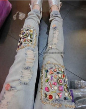 Fashion spring and summer new arrival hole beading diamond decoration slim skinny jeans women