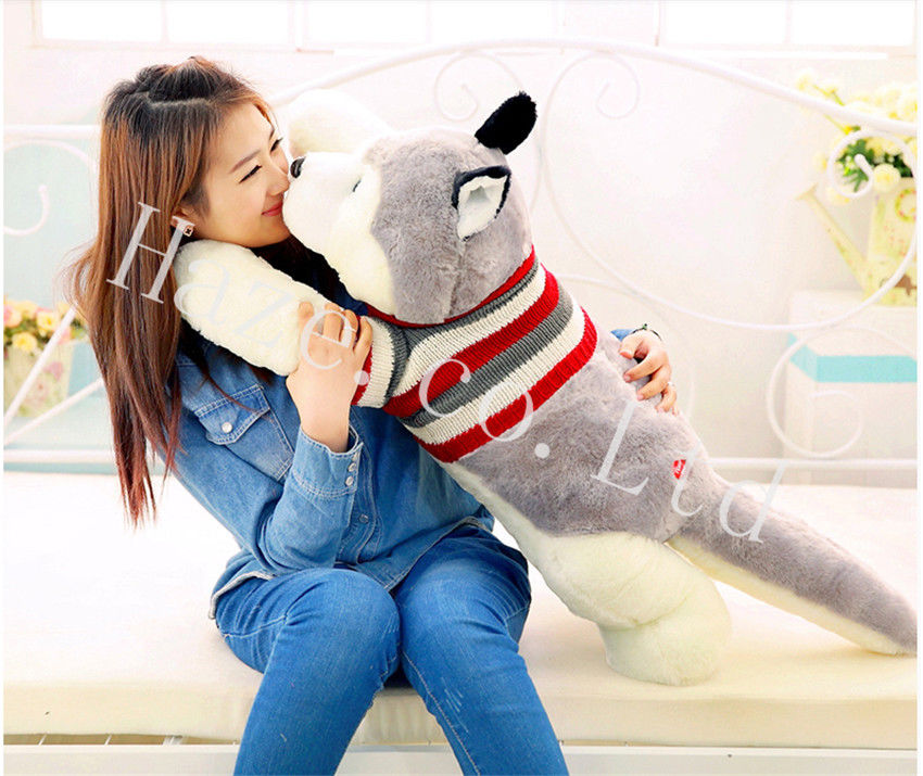 New Stuffed Animal Soft  Plush Siberian Husky Dog Cute Toys Doll Kids Gift Pillow 55cm<br><br>Aliexpress