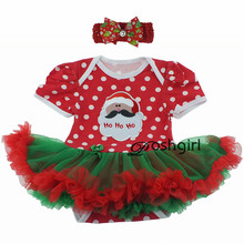 Festival Christmas Baby Clothes Set Santa Claus Romper Dress Toddler Girl Birthday Gift for Newborn Baby Girls Outfit + Headband(China)