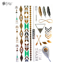 Hot fashion 1 PC Indian style trauma temporary shelters inspired design Flash body wash chalk tattoo tattoo stickers