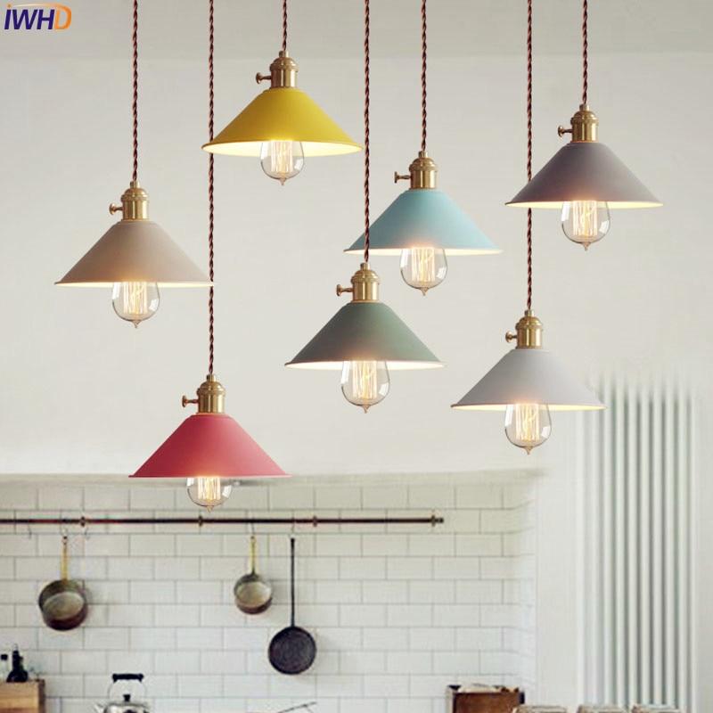 IWHD Nordic Simple LED Pendant Lights Living Dinning Room Modern Edison Retro Vintage Lamp Hanging Light Suspension Luminaire <br>