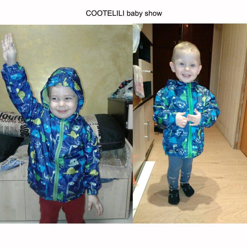 COOTELILI 80-120cm Spring Autumn Dinosaur Windbreaker Kids Jacket Boys Outerwear Coat Hooded Baby Clothing For Boys (4)