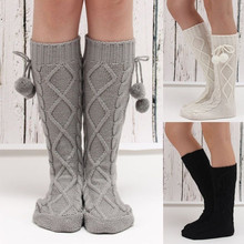 2017 New Winter Warm Long Leg Warmers Socks Soft Solid Knitting Socks with Balls Women Fashion Knee High Leg Socks Boot Cuffs