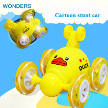 Brand New cute cartoon Mini Led RC 360 Wheelie Remote Radio Control Twister Stunt Car Roll Rotate Wheel Vehicle Motor Toy(China)