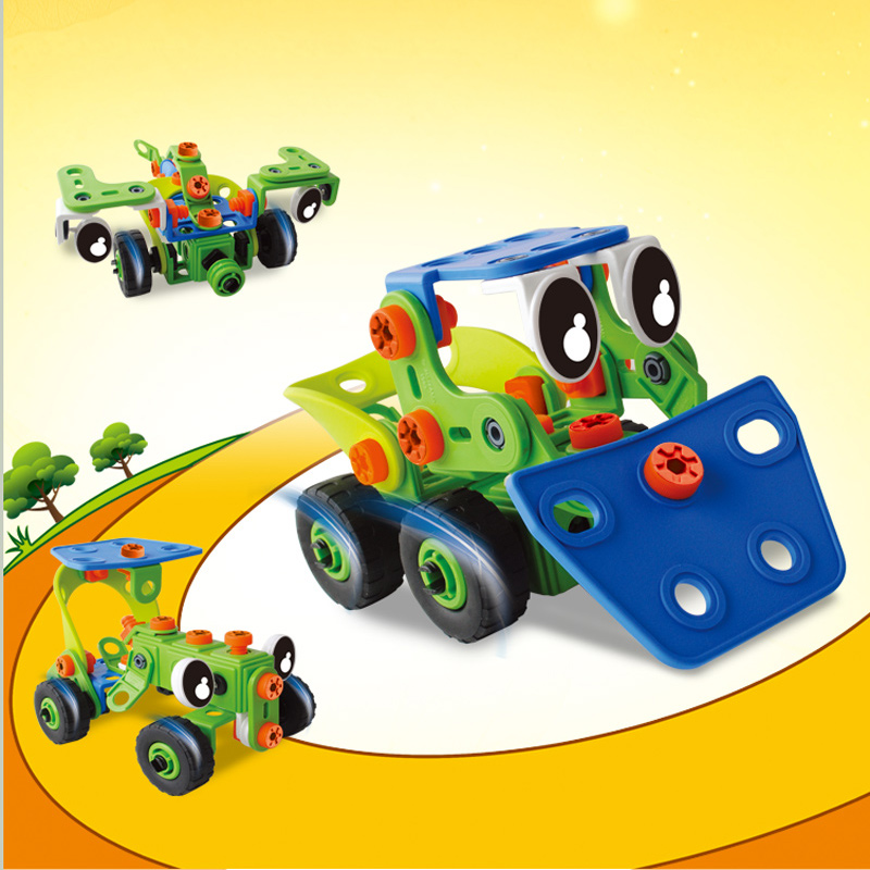 Montessori Educational toy for 6-7-8 year old boy kawaii design Truck Bulldozer Plane Tool assembly puzzle lepined Soft Plastic<br>